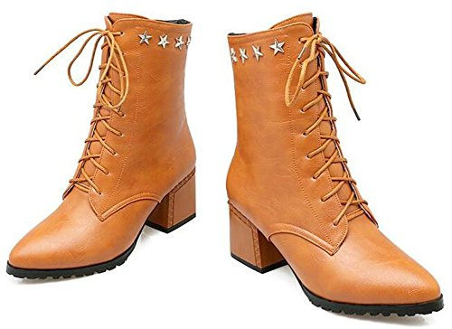 IDIFU Womens Comfy Pointed Toe Mid Chunky Heels Lace Up Side Zipper Ankle Boots Riding Booties With Stars Yellow dCgEyE