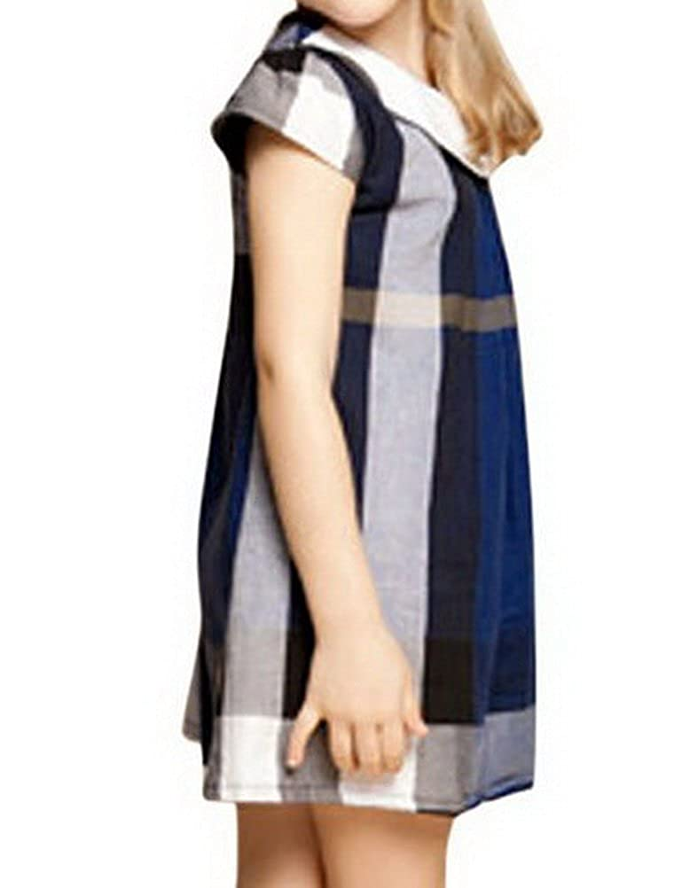 ARAUS Plaid Dress Baby Girl Short Sleeve Royal Stewart Pleated Cotton Bowknot Princess Summer Mini Sundress