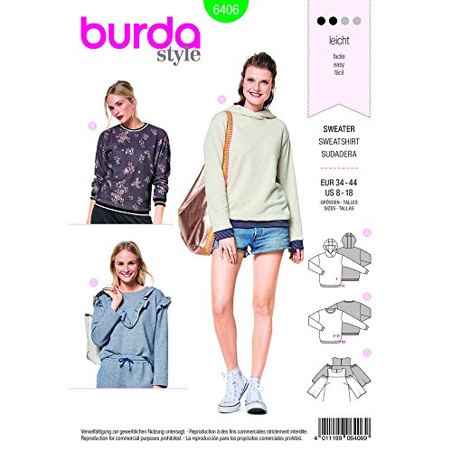 Burda Style Sewing Pattern B6406 - Tops and Hoodies with Rib Knit Bands, A(8-10-12-14-16-18) ()