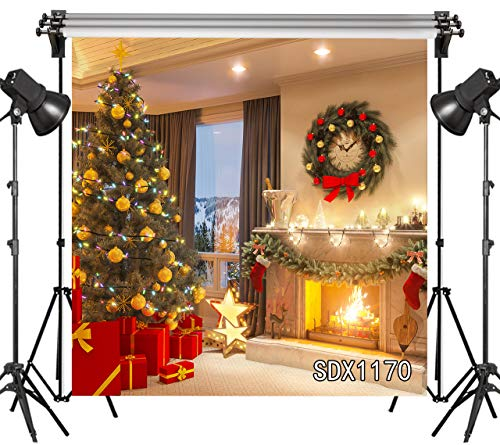 LB 8x8ft Christmas Tree Photo Backdrop Holly Balls Gifts Christmas Garland Socks Burning Fireplace Photography Background for Pictures Studio Props Customized SDX1170