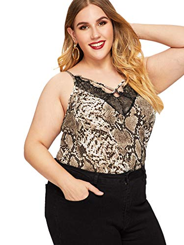 Romwe Women's Plus Size Contrast Lace Criss Cross V Neck Spaghetti Strap Cami Tank Top Multicolor 2X