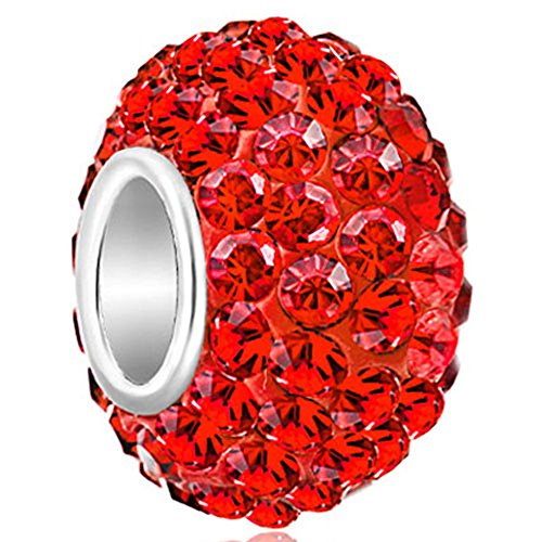 (LovelyJewelry 925 Sterling Silver Red Birthstone Charms Swarovski Elements Crystal Bead For)