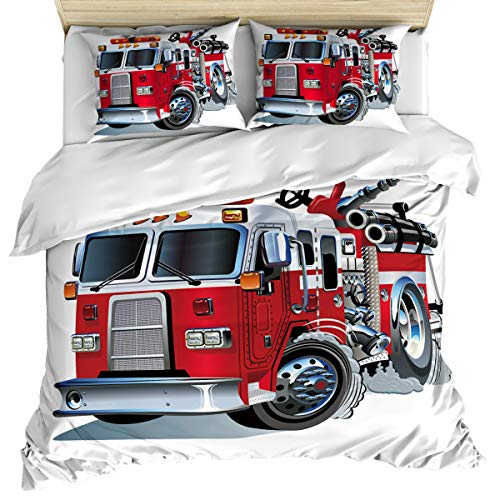 - Twin Size 4 Piece Bedding Set Comforter Cover Set, Cartoon Vehicle with Powerful Engine Riding to Rescue Fire Department, Duvet Cover Set Soft and Breathable with Zipper Closure for Kids/Teens/Adults