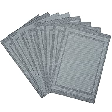 Top Fine Deluxe PVC Plaid Placemats Washable Heat-resistant for Dining Table 12 by18  (Set of 8, Grey)