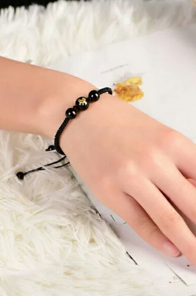 Generic Obsidian black hand-woven rope zodiac animal year men and women hand chain bracelet bangle wristband bracelets accessories of Jupiter