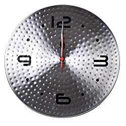 Kosma Stainless Steel Designer Quartz Wall Clock (Hammered)
