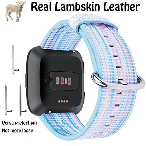 For Fitbit Versa Bands, Marval.P Lambskin Genuine Leather, Hybrid Color with Stainless Metal Clasp, Durable Strap Band for Women Men, Gifts Wrapped for Brithday Holiday Christmas (Hybrid Rainbow (Lamb Strap)