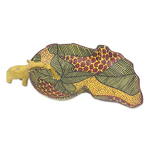 NOVICA Animal Themed Wood Bowl, Yellow, African Elephant'
