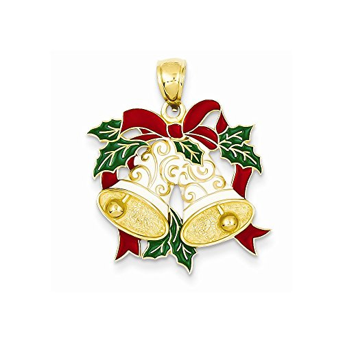 14K Yellow Gold Enameled Holiday Bells & Holly Leaves Pendant - Enameled Holiday Bells