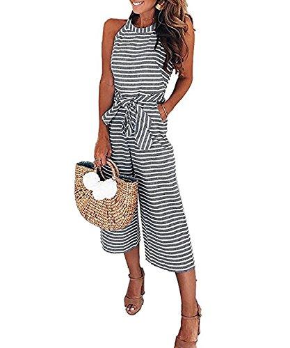 Bolomi Womens Striped Belted Waist Wide Leg Zipper Back Jumpsuit Romper Pockets