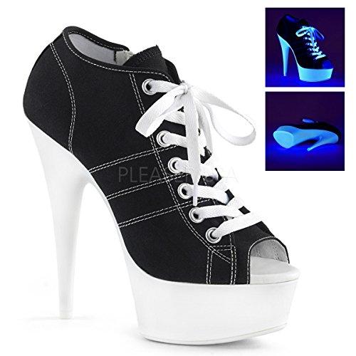 Pleaser Women's DELIGHT-600SK-01 Sandal, Black Canvas/neon White, 8 M US ()