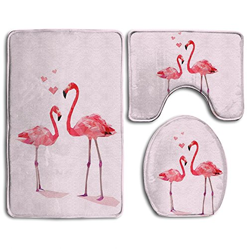 Bath Mat,3 Piece Bathroom Rug Set,Pink Flamingo Flannel Non Slip Toilet Seat Cover Set,Large Contour Mat,Lid Cover For Men/Women