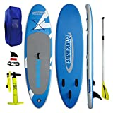 "Primewave Inflatable Stand up Paddle Board 10'2"" Long 33"" Wide 6"" Thick Military Grade PVC Double Layer Blue"