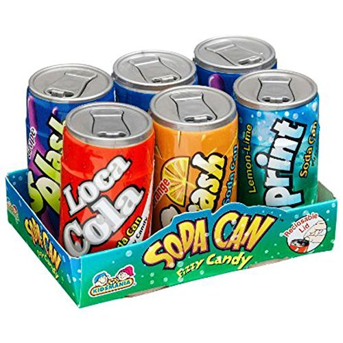 Kidsmania Soda Can Fizzy Candy 36 Can Variety Pack