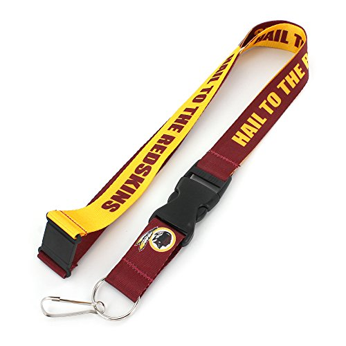 aminco NFL Washington Redskins Slogan Lanyard Fan Keychain, Maroon