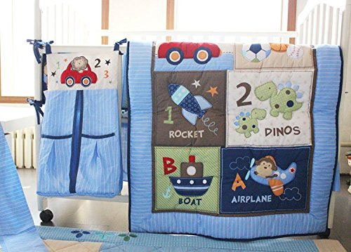 NAUGHTYBOSS Boy Baby Bedding Set Cotton 3D Embroidery Dinosaur Rockets Submarine Car Quilt Bumper Bedskirt Fitted Urine Bag 8 Pieces Set Blue by NAUGHTYBOSS