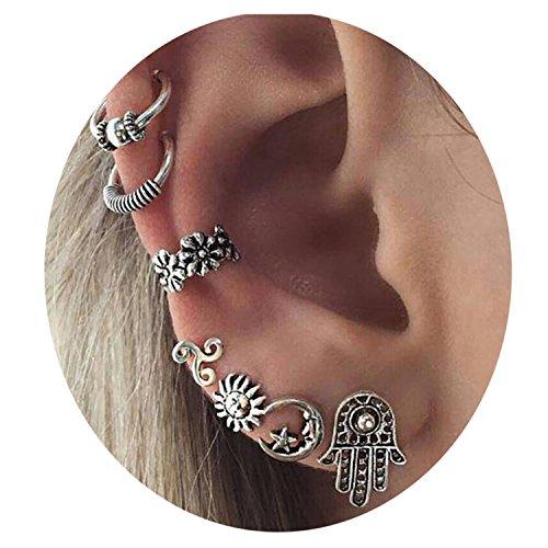 Boho Earring Set Punk Vintage Punk Earring Women Jewelry (Silver) (Silver2)