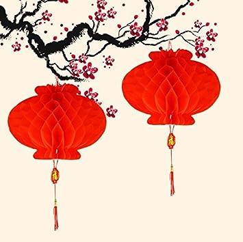 Flikool Repliable Rouge Chinoises Lanternes Guirlande Nid d'Abeille Lampion en Papier Decoration Pendentif Ornements pour Maison, Nouvel An Chinois, Festival de Printemps, Mariage - 20pcs, Diametre 17cm