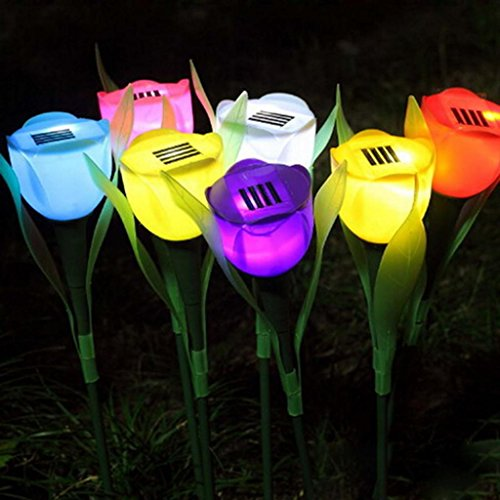 HuntGold 1X Tulip Flower Shape Solar Powered LED Lamp Outdoor Yard Garden Lawn Path Lighting(yellow) (Lamp China Solar)