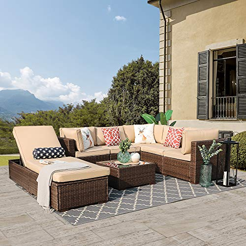 Patiorama Outdoor Furniture Sectional Sofa Set (Upgrade 7-Piece Set) All-Weather Brown Wicker with Beige Seat Cushions &Glass Coffee Table & Chaise Lounge Chair   Backyard, Pool  Steel Frame Brown (Lounge Chaise Sectional Sofa)