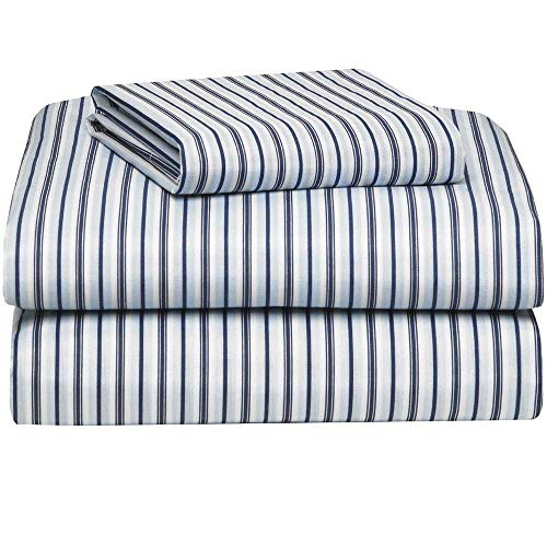 OCM Oxford Stripe Microfiber 3-Piece Twin XL Sheet Set for College Dorm Residence Hall Extra Large Twin Bed