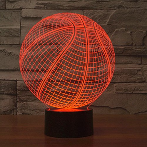 Amazing 7 Colors Optical Illusion 3D Baseball Lamps,Glow Lighting Nightlight Room Decor Table Lamps (Basketball)