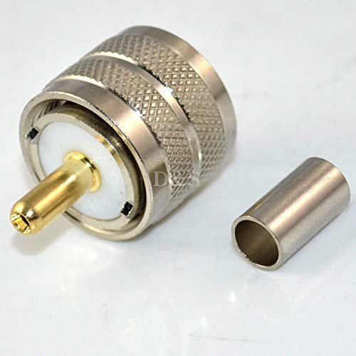 1x UHF Male PL259 Right Angle RG58 RG142 LMR195 RG400 RF Crimp Cable Connector