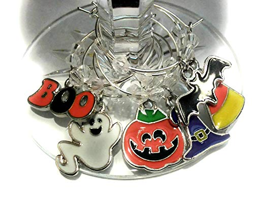 Halloween Wine Glass Charms - Ghost, Pumpkin, Witch hat, Glass Identifier Tags - Halloween Glass Markers - 6 Wine Charms/pack -