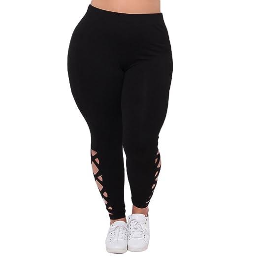 cf5552a85cf TOPmountain Women Daily Stretch Sport Yoga Hollow Out Long Trousers Plus  Size Pants Black