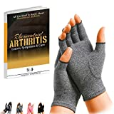 SyeJam Rheumatoid Arthritis Gloves Fingerless- Warmth Therapeutic Compression Gloves for Pain Relief- Support & Improve Circulation in Wrist & Hand, Helps with Carpal Tunnel & More (M) 1 pair