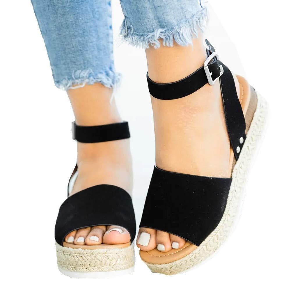 Susanny Wedge Sandals for Women Espadrille Platform Strappy Sandal Low Heels Casual Summer Dress Shoes