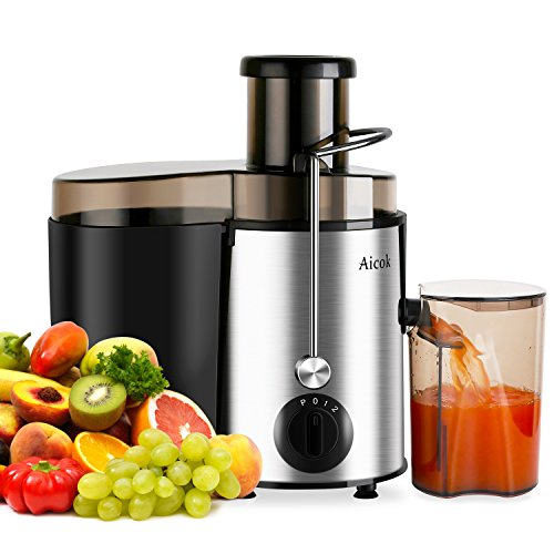 Aicok Juice Extractor Juicer Centrifugal Fruit Machine Powerful 400 Watt with Juice Jug and Cleaning Brush Stainless Steel