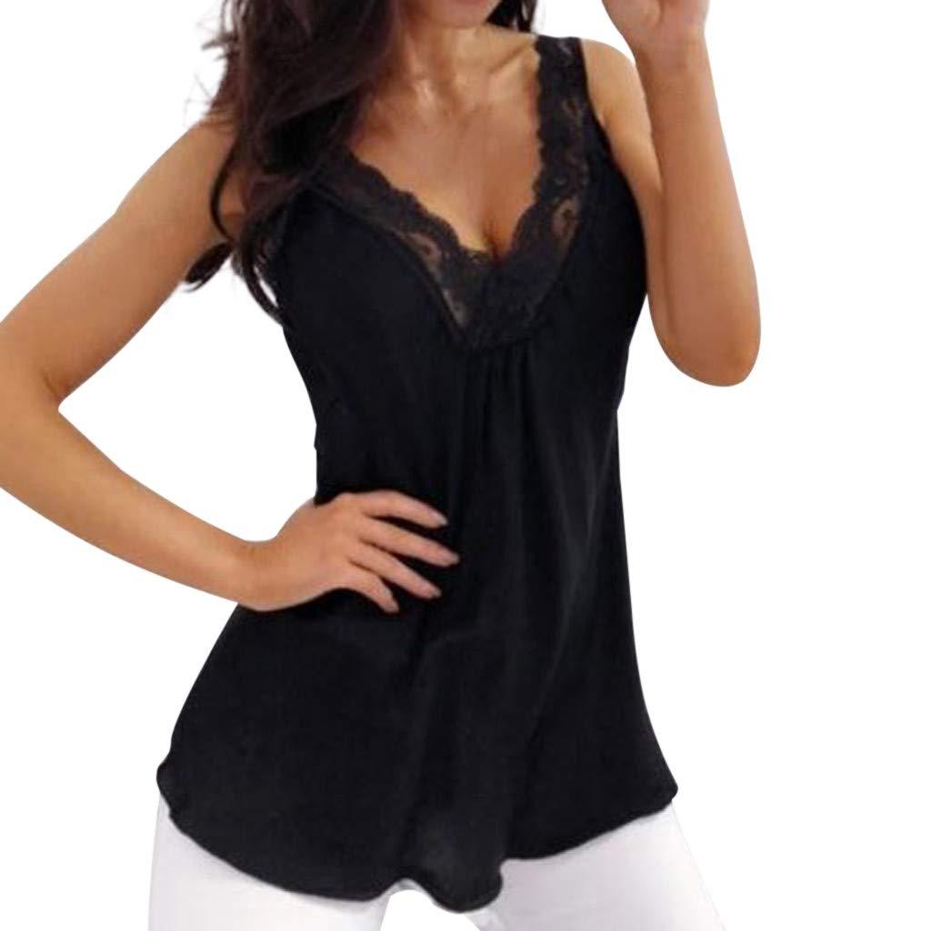 Womens Summer Tank Top,Soild Lace Floral Patchwork Deep V Camis Vest Sleeveless Halter T Shirt Blouse Black