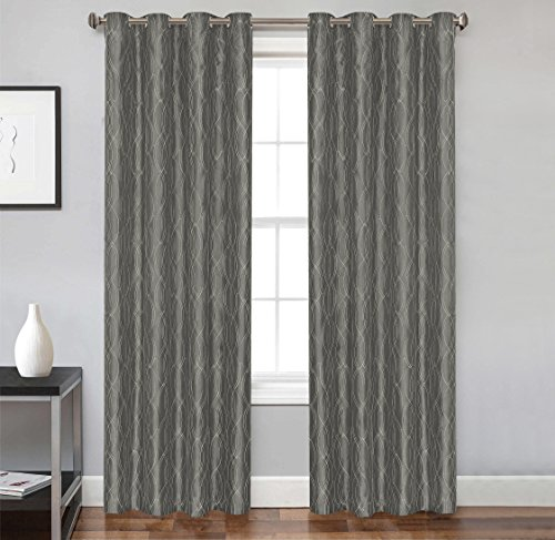 2 Piece Set RULEY Window Panels Embroidered Grommet Top Decorative Curtains, 54