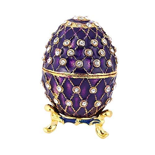 Telisii Classic Vintage Style Faberge Egg with Rich Enamel and Sparkling Rhinestones Jewelry Trinket Box Purple - Faberge Egg Plates