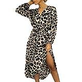Women Leopard Print Split Dress,Mosunx Ladies Casual Long Sleeve Lace Up V-Neck Dresses (M, Pink)