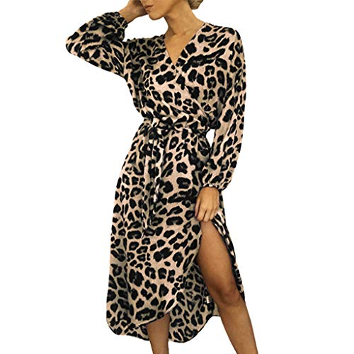 Toimothcn Women Chiffon Leopard Print Dress Long Sleeve Split Casual Waist Tie Knot Long Dress(Pink,S) -