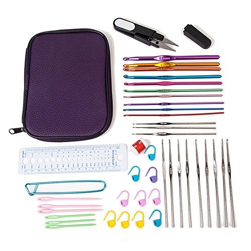 Sewing Tool Set 22 Sizes Crochet Hooks Needles Stitches Knitting Craft Case Crochet Set by Cozy Hut