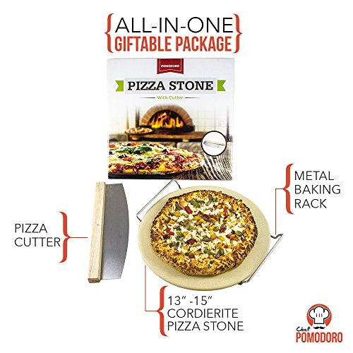 """Cordierite Pizza Stone Cooking Kit with Pizza Cutter - 15"""" Pizza Stone, Cutter and Cooling Metal Rack, Made for Oven and Barbeque Grill"""