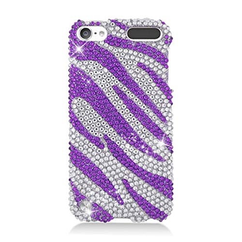 Insten Zebra Rhinestone Diamond Bling Hard Snap-in Case Cover Compatible with Apple iPod Touch 5th Gen, Purple/Silver