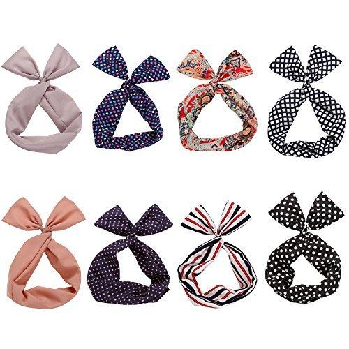 Wrap Accessory Hair (Twist Bow Wired Headbands Scarf Wrap Hair Accessory Hairband by Sea Team(8 Packs))
