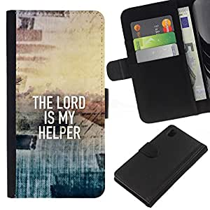 EJOY---La carpeta del tirón la caja de cuero de alta calidad de la PU Caso protector / Sony Xperia Z1 L39 / --BIBLIA El Señor es mi ayudador
