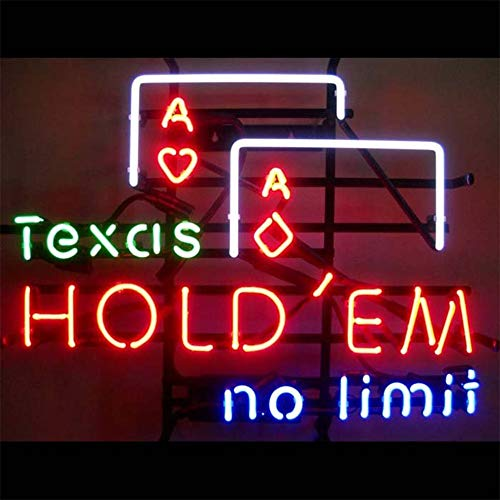 (Neon Qiong Neon Sign Factory 17X14 Inches Real Glass Neon Sign Light for Beer Bar Pub Garage Room Texas Hold'em No Limif.)