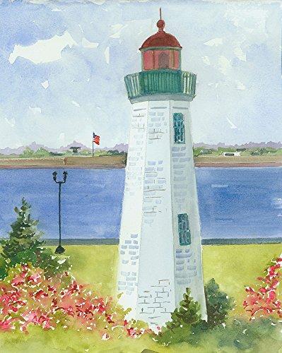 Old Point Comfort Lighthouse, Fort Monroe, Chesapeake Bay Hampton Roads, Virginia. Matted Watercolor Art Print ()