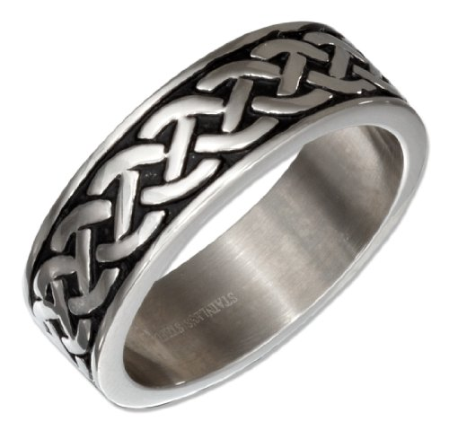 Stainless Steel Celtic Knot Weave Wedding Band Ring (size 10) (Celtic Ring Knot Weave)