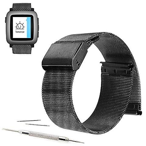 22mm Mesh Stainless Steel Milanese Loop Replacement Watch Band For Pebble Time Steel 2015 (YESOO Retail Packaging - 180 Days Warranty) (Loop (22mm Mesh Watchband)