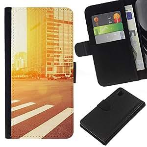 NEECELL GIFT forCITY // Billetera de cuero Caso Cubierta de protección Carcasa / Leather Wallet Case for Sony Xperia Z1 L39 // Resplandor de la calle
