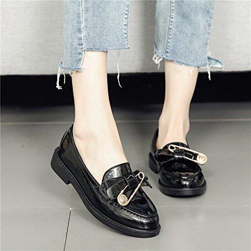 Btrada Femmes Retro Penny Mocassins Chaussures Confort Slip Sur Robe Chaussures Unique Broche Oxfords Chaussures Noir
