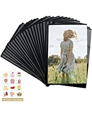 Mingting 24 PCS Magnetic Picture Frame, Holds 4X6 Inches Pictures, Reusable black Magnet Fridge Photo Sleeves with for Refrigerator, Locker,Office Cabinet with Free Removable 12 Pcs Food Fridge Magnet