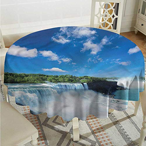 Tim1Beve Waterfall Spillproof Tablecloth Niagara Falls in The USA Party Decorations Table Cover Cloth D50 INCH]()